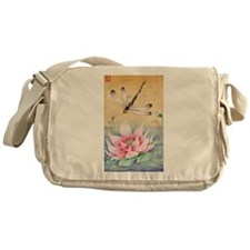 Lotus Dragonfly Art Messenger Bag