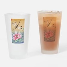 Lotus Dragonfly Art Drinking Glass