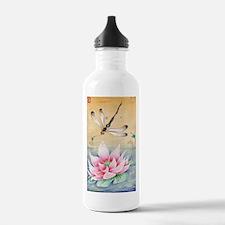 Lotus Dragonfly Art Water Bottle