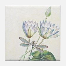 Lotus and dragonfly Tile Coaster