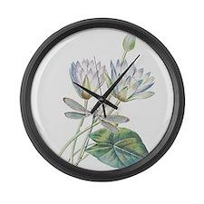Lotus and dragonfly Large Wall Clock