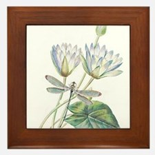 Lotus and dragonfly Framed Tile