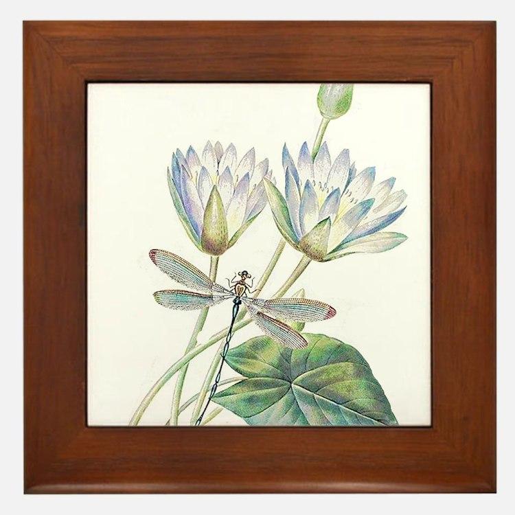 Lotus and dragonfly Framed Tile