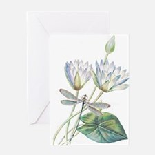 Lotus and dragonfly Greeting Cards