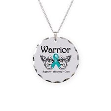 Ovarian Cancer Warrior Necklace Circle Charm