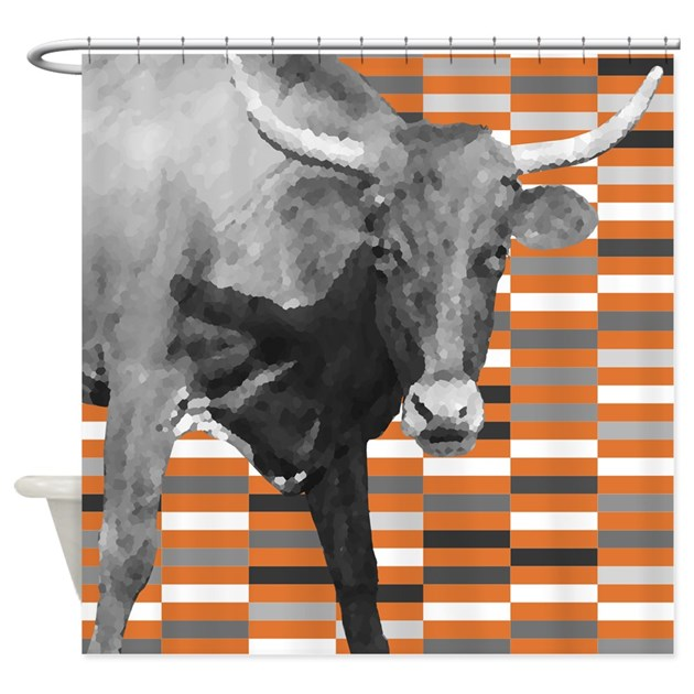 Curtains Ideas gray and orange shower curtain : Gray And Orange Pop Art Cow Shower Curtain by PickYourPerfectOriginals
