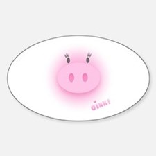 Pinky Oink Pig Oval Decal
