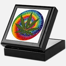 Marijuana leaf w/tie dye Keepsake Box