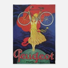 Peugeot Vintage Bicycle Poster 5'x7'area Rug