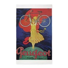 Peugeot Vintage Bicycle Poster Area Rug