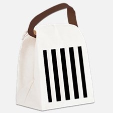 Black and White Stripes Striped c Canvas Lunch Bag