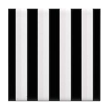 Black and White Stripes Striped class Tile Coaster