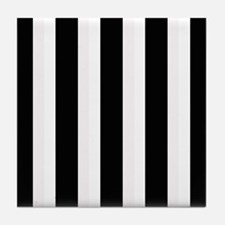 Black and White Stripes Striped class Tile Coaster