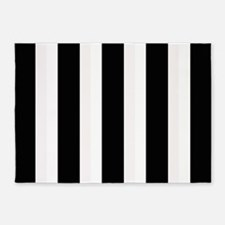 Black and White Stripes Striped cla 5'x7'Area Rug