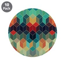 "Colorful Cubes Geometric Pat 3.5"" Button (10 pack)"