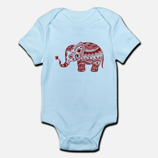 Cute Floral Elephant In Burgundy Red Body Suit