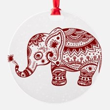 Cute Floral Elephant In Burgundy Re Ornament