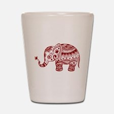 Cute Floral Elephant In Burgundy Red Shot Glass