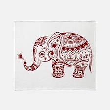 Cute Floral Elephant In Burgundy Red Throw Blanket