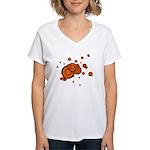 Black / Orange Discs Women's V-Neck T-Shirt