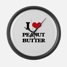 I Love Peanut Butter Large Wall Clock