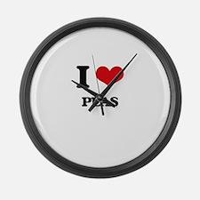 I Love Peas Large Wall Clock