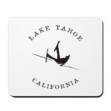 Lake Tahoe California Funny Falling Skier Mousepad
