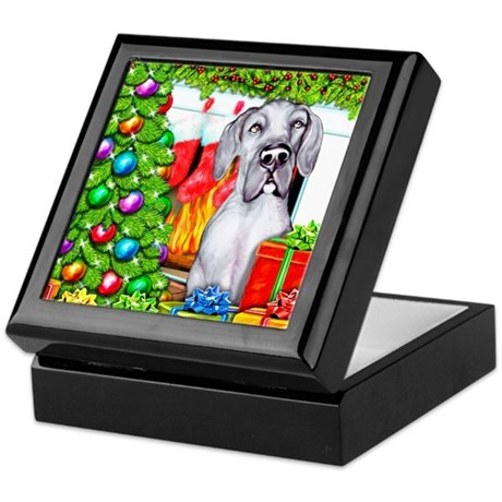 Great Dane Stockings Blue UC Keepsake Box