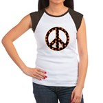 Black/Orange Peace Sign Women's Cap Sleeve T-Shirt