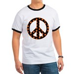 Black/Orange Peace Sign Ringer T