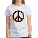 Black/Orange Peace Sign Women's T-Shirt