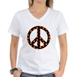 Black/Orange Peace Sign Women's V-Neck T-Shirt
