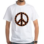 Black/Orange Peace Sign White T-Shirt