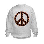 Black/Orange Peace Sign Kids Sweatshirt