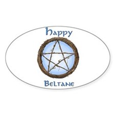 Happy Beltane 2 Oval Decal