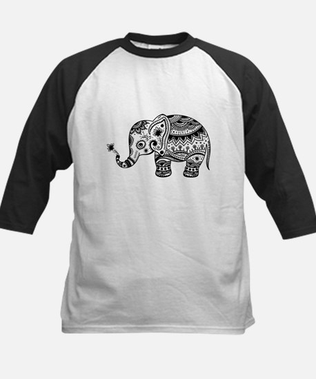 Cute Floral Elephant In Black Baseball Jersey