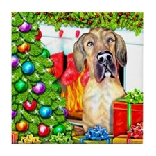 Great Dane Stockings Brindle UC Tile Coaster