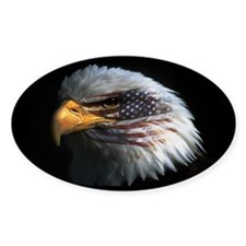 American Flag Eagle Oval Bumper Stickers