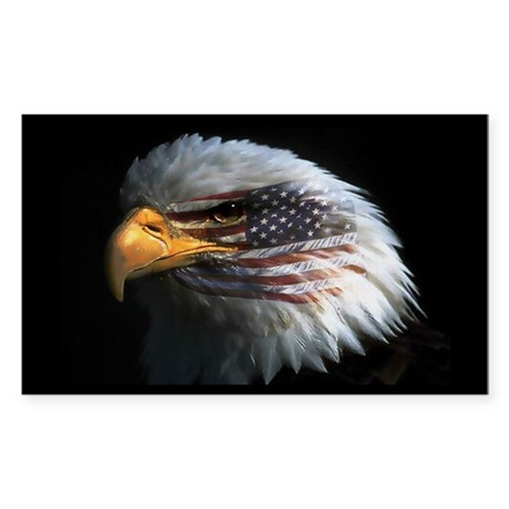 American Flag Eagle Rectangle Sticker