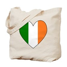 Irish Flag Heart Valentine Black Border Tote Bag
