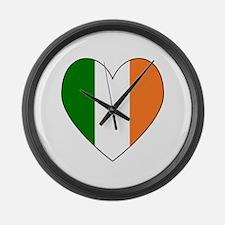 Irish Flag Heart Valentine Black Large Wall Clock