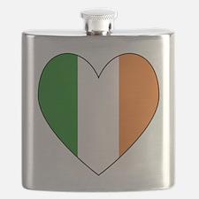 Irish Flag Heart Valentine Black Border Flask