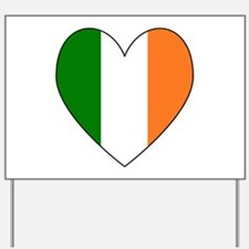 Irish Flag Heart Valentine Black Border Yard Sign