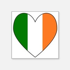 Irish Flag Heart Valentine Black Border Sticker