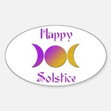 Happy Solstice 4 Oval Decal