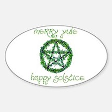 Merry Yule green 2 Oval Decal