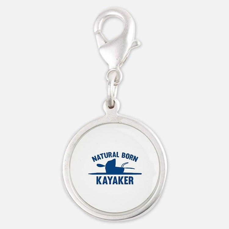 Natural Born Kayaker Silver Round Charm