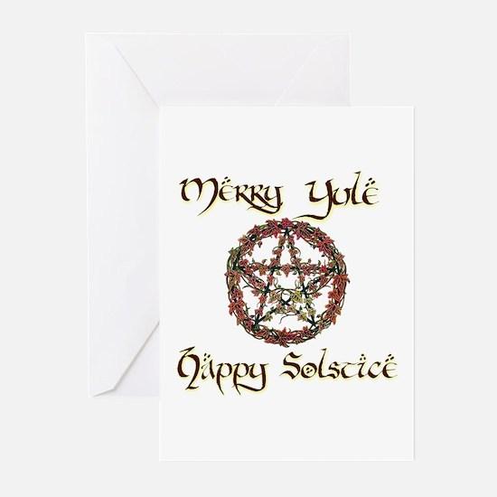 Merry Yule burgundy 1 Greeting Cards (Pk of 10