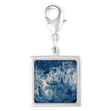Blue Planet Silver Square Charm