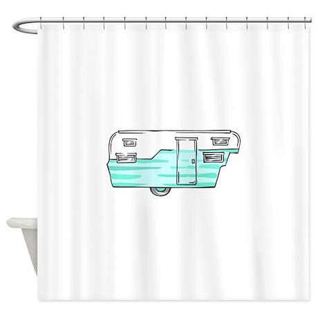 VINTAGE BLUE CAMPER Shower Curtain